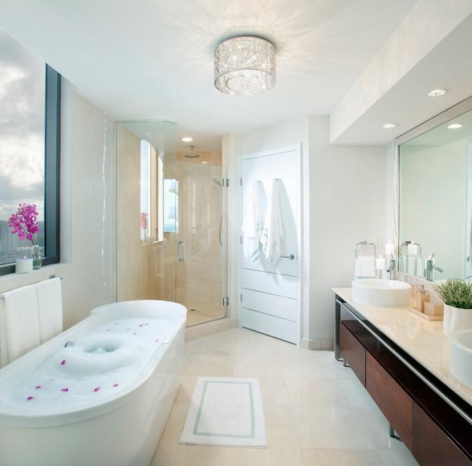 Bathroom Contemporary Crystal Flush Mount Multi Lighting