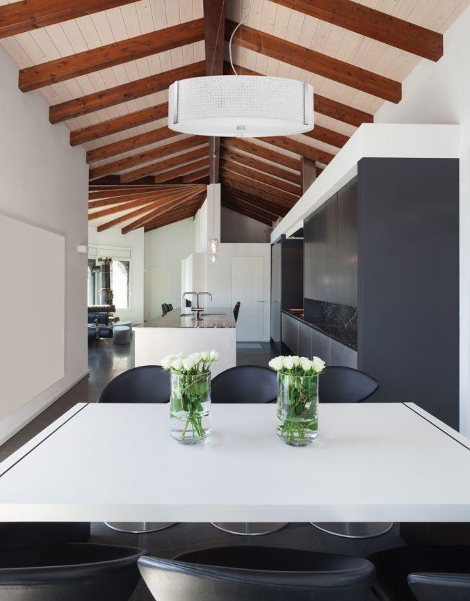 Salle a manger suspendu contemporain lighting multi for Table 09 pointe claire