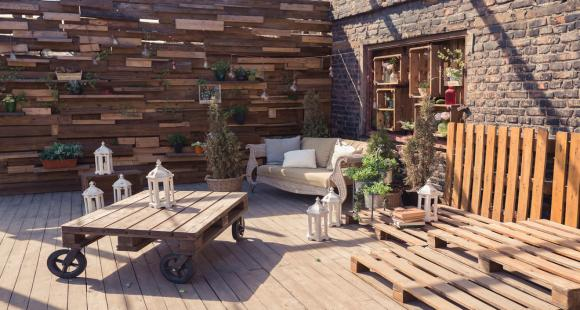 Outdoor landscaping with wooden pallets