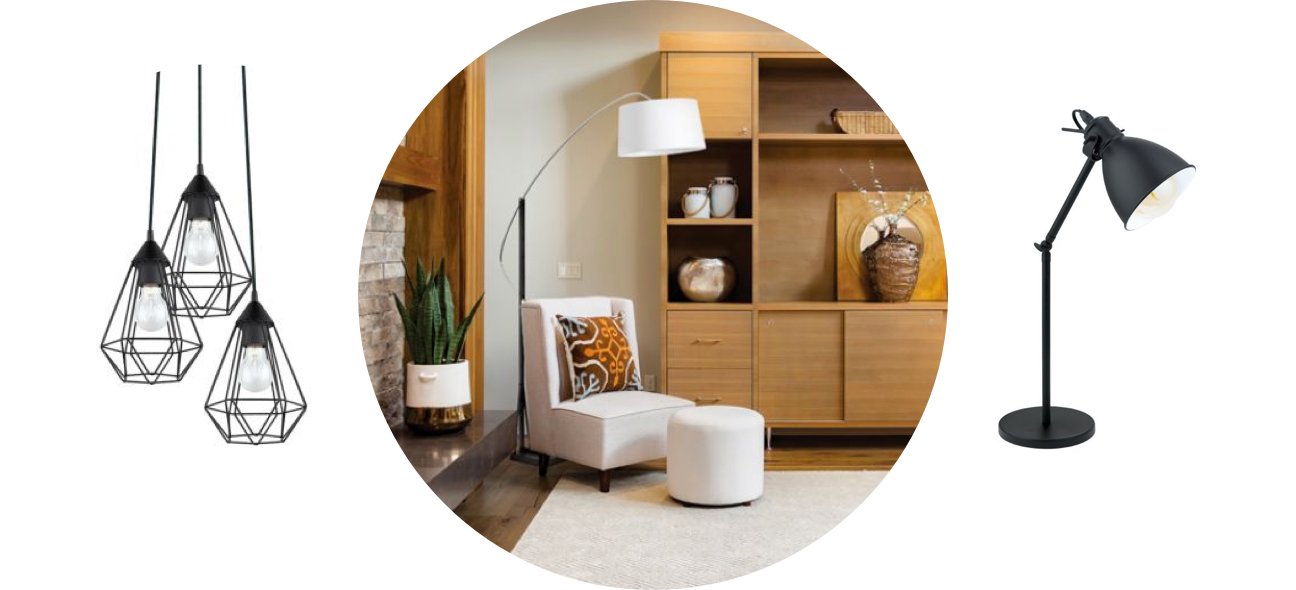 Set of light fixtures, illuminated living room and bedside lamp